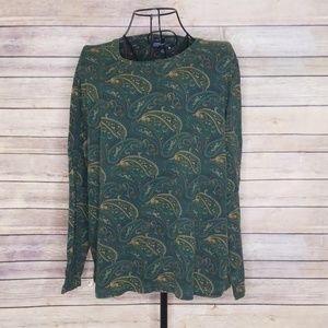 Jones New York 1X green paisley cotton top